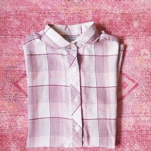 80s Vintage Pink Plaid Collared Tank Blouse
